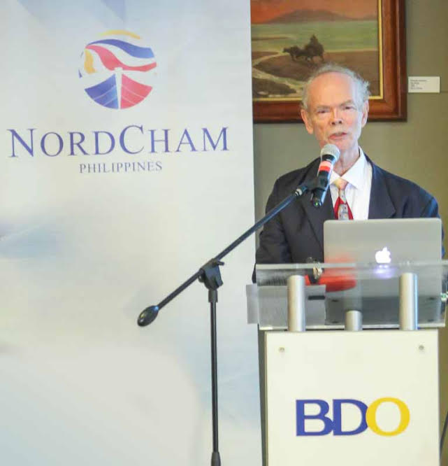 European affairs expert speaks. Jorgen Orstrøm Moller, adjunct Professor of Singapore Management University and CopenhagenBusiness School, addresses the audience during a forum sponsored by the Nordic Chamber of Commerce held at the BDO Corporate Center in Makati.
