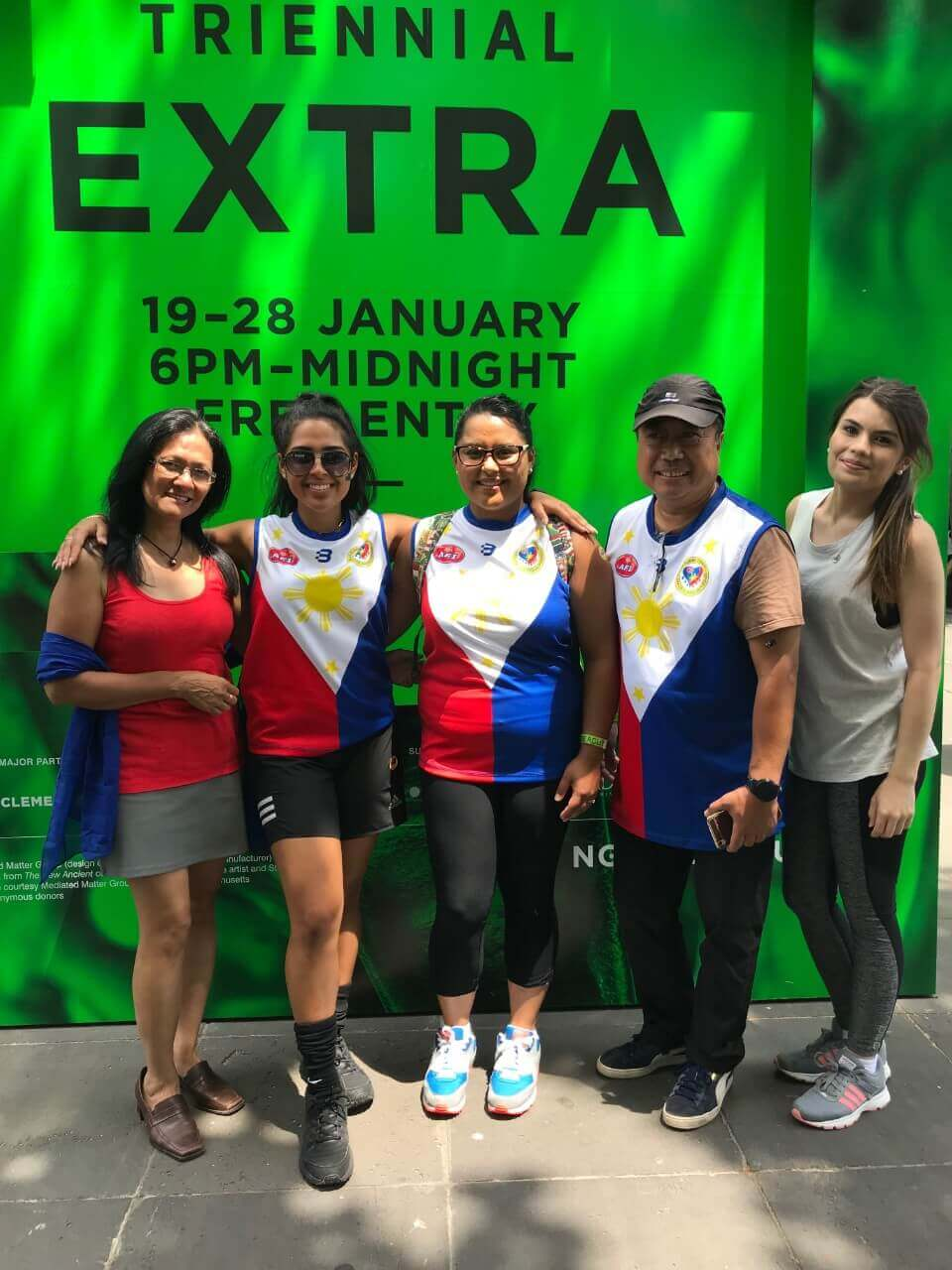 AFCS-AFI first Filipino footy team joins Australia Day 2018. From left: Maria Smith, Sofia Varga, Corina Dutlow, Gabby Ocampo, Rennae Purcell
