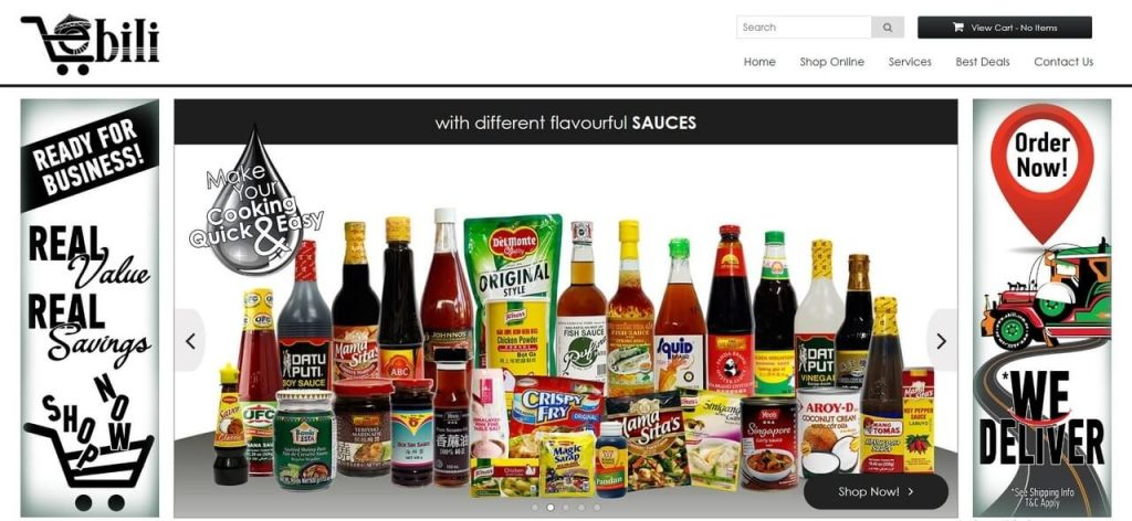 eBili Homepage showcasing Filipino favourites and other products available online