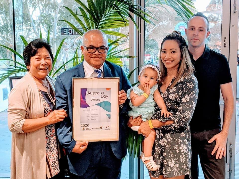 Ray with his wife Yolanda, daughter Rowena, granddaughter Katelyn and son-in-law Chris at a ceremony at City of Whittlesea's annual Australia Day celebration.